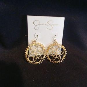 NWT! Jessica Simpson Gold Encircled Earrings